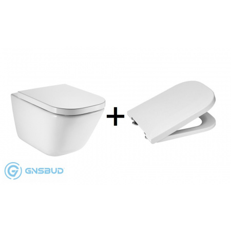 Roca Gap Zestaw Toaleta WC podwieszana 54x35 cm Rimless bez kołnierza z deską sedesową wolnoopadającą, biały A34647L000+A80148200U