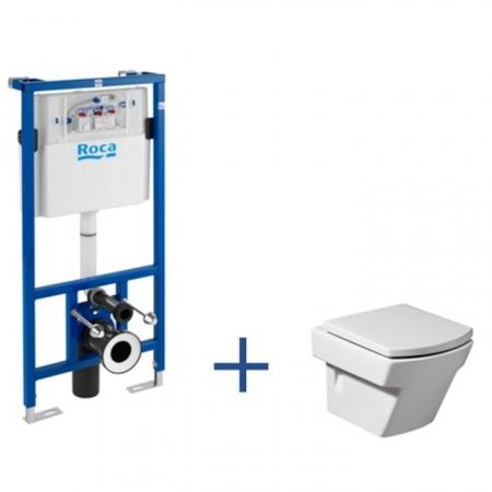 Roca Hall Toaleta WC podwieszana 35,5x50x40 cm Compacto ze stelażem i powłoką MaxiClean, biała A8900900MH