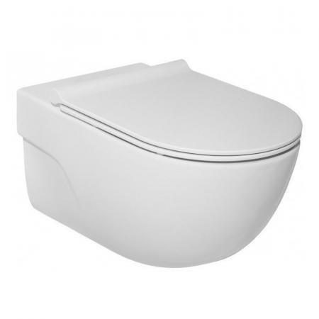 Roca Meridian Compacto Zestaw Toaleta WC podwieszana 48x36 cm Rimless bez kołnierza z deską wolnoopadającą slim Duroplast biała A34H242000