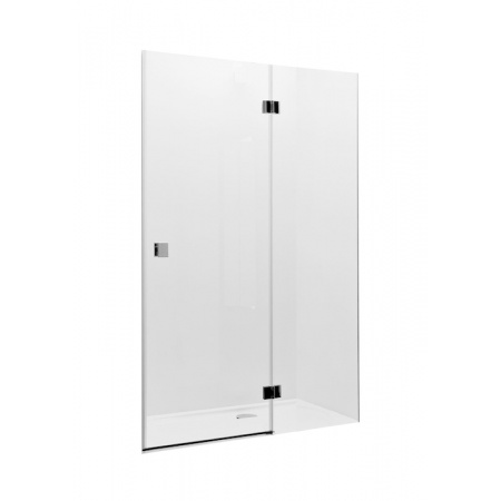 Roca Metropolis Drzwi prysznicowe z polem stałym 120x195 cm z powłoką MaxiClean, profile chrom szkło przezroczyste AMP3412012M