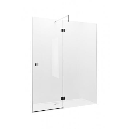Roca Metropolis Drzwi prysznicowe z polem stałym 140x195 cm z powłoką MaxiClean, profile chrom szkło przezroczyste AMP3414012M