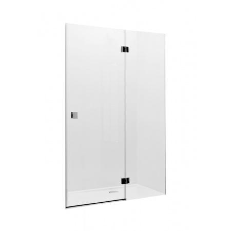 Roca Metropolis Drzwi prysznicowe z polem stałym 80x195 cm z powłoką MaxiClean, profile chrom szkło przezroczyste AMP3408012M