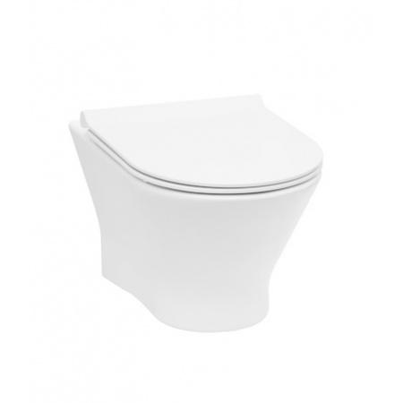 Roca Nexo Toaleta WC podwieszana 53,5x36 cm Rimless bez kołnierza z deską sedesową wolnoopadającą Slim, biała A34H64L000