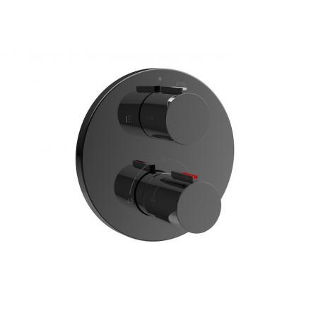 Roca T-1000 Black Bateria wannowo-prysznicowa termostatyczna podtynkowa czarny połysk A5A0C09CN0