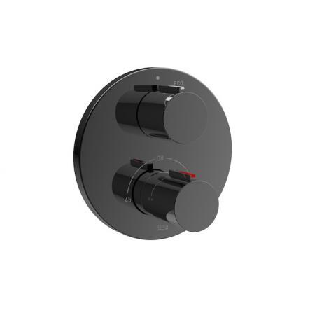 Roca T-1000 Black Bateria wannowo-prysznicowa termostatyczna podtynkowa czarny połysk A5A2C09CN0