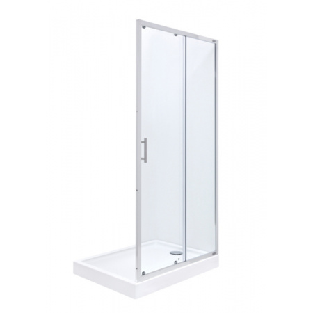 Roca Town Drzwi prysznicowe wnękowe 100x195 cm z powłoką MaxiClean, profile chrom szkło przezroczyste AMP181001M