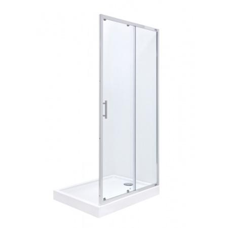 Roca Town Drzwi prysznicowe wnękowe 140x195 cm z powłoką MaxiClean, profile chrom szkło przezroczyste AMP181401M