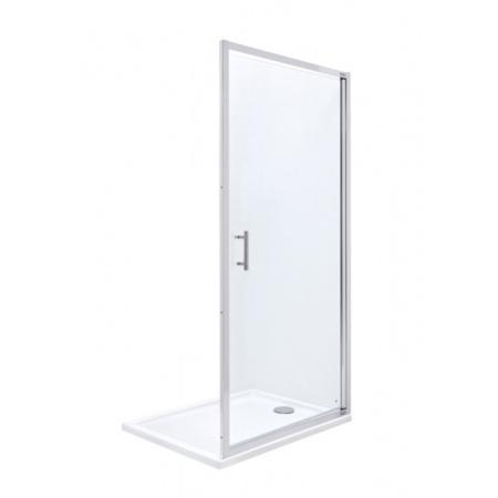 Roca Town Drzwi prysznicowe wnękowe 90x195 cm z powłoką MaxiClean, profile chrom szkło przezroczyste AMP170901M