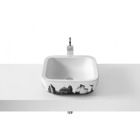 Roca Urban Umywalka nablatowa 40x40x15 cm z grafiką Berlin i powłoką MaxiClean, biała A32765G00M