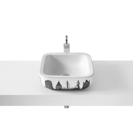 Roca Urban Umywalka nablatowa 40x40x15 cm z grafiką London i powłoką MaxiClean, biała A32765L00M