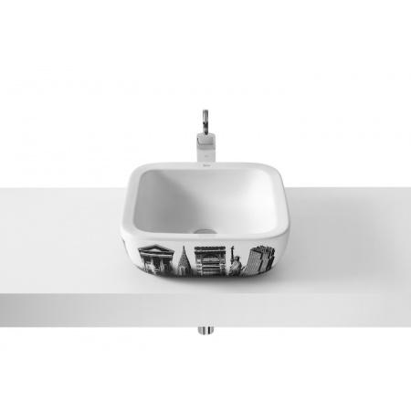Roca Urban Umywalka nablatowa 40x40x15 cm z grafiką New York City i powłoką MaxiClean, biała A32765U00M