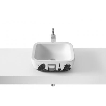 Roca Urban Umywalka nablatowa 40x40x15 cm z grafiką Shanghai i powłoką MaxiClean, biała A32765H00M