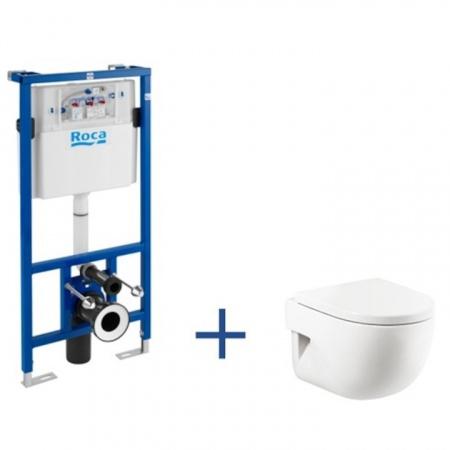 Roca Meridian Toaleta WC podwieszana 36x48x40 cm Compacto ze stelażem i powłoką MaxiClean, biała A8900900MC
