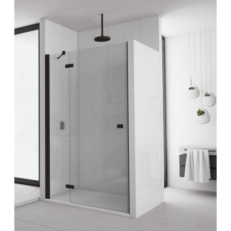 Ronal Sanswiss Annea Black AN13 Drzwi prysznicowe uchylne 90x200 cm ze ścianką stałą prawe, profile czarny mat szkło przezroczyste Aquaperle AN13D09000607