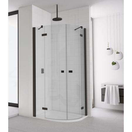 Ronal Sanswiss Annea Black ANR50 Kabina prysznicowa półokrągła 80x80x200 cm drzwi uchylne, profile czarny mat szkło przezroczyste Aquaperle ANR500800607