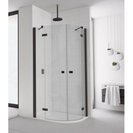 Ronal Sanswiss Annea Black ANR55 Kabina prysznicowa półokrągła 90x90x200 cm drzwi uchylne, profile czarny mat szkło przezroczyste Aquaperle ANR550900607