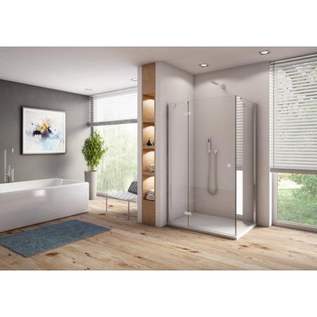 Ronal Sanswiss Annea Drzwi prysznicowe uchylne 80x200 cm ze ścianką stałą lewe, profile srebrny połysk szkło przezroczyste Aquaperle AN13G08005007