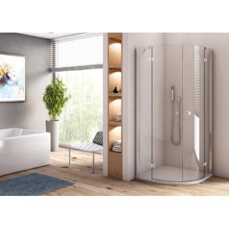 Ronal Sanswiss Annea Kabina prysznicowa półokrągła 80x80x200 cm drzwi uchylne, profile srebrny połysk szkło przezroczyste Aquaperle ANR550805007