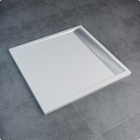 Ronal Sanswiss Ila Brodzik konglomeratowy kwadratowy 100x100 cm pokrywa biała, biały WIQ1000404