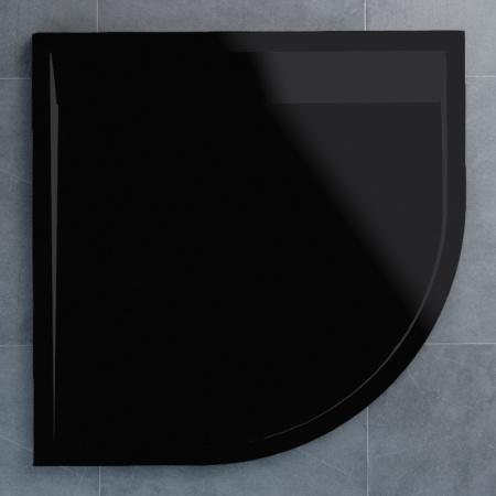 Ronal Sanswiss Ila Brodzik półokrągły 80x80 cm pokrywa czarny mat, czarny granit WIR5508006154