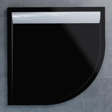 Ronal Sanswiss Ila Brodzik półokrągły 80x80 cm pokrywa połysk, czarny granit WIR5508050154