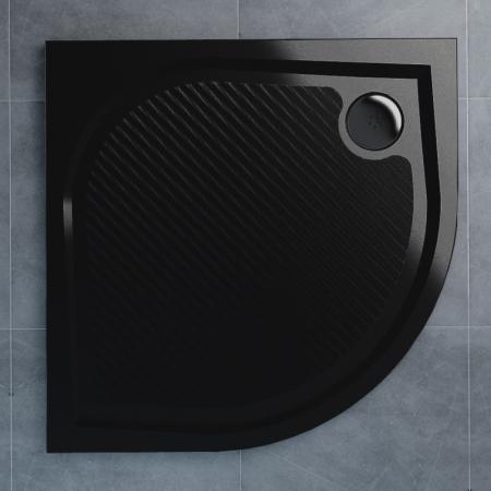 Ronal Sanswiss Marblemate Brodzik półokrągły 80x80 cm, czarny granit WMR550800154