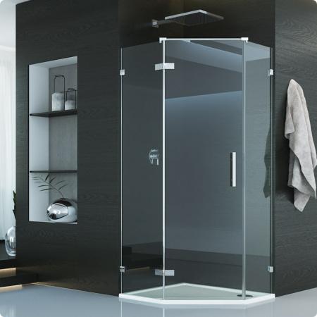 Ronal Sanswiss Pur Drzwi jednoczęściowe do kabiny pięciokątnej 45-100xdo 200 cm lewe, profile chrom szkło przezroczyste PUR51GSM21007