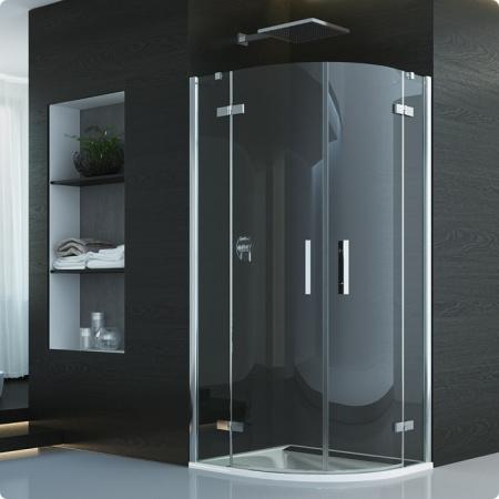 Ronal Sanswiss Pur Kabina prysznicowa półokrągła z drzwiami dwuczęściowymi, montaż z profilem przyściennym 80x200 cm, profile chrom szkło przezroczyste PU4P550801007