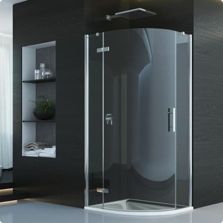 Ronal Sanswiss Pur Kabina prysznicowa półokrągła z drzwiami jednoczęściowymi, montaż z profilem przyściennym 80x200 cm lewe, profile chrom szkło przezroczyste P3PG500801007