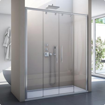 Ronal Sanswiss Pur Light S Drzwi rozsuwane czteroczęściowe 120x200 cm, profile białe szkło przezroczyste PLS41200407