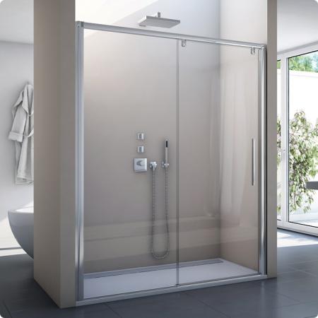 Ronal Sanswiss Pur Light S Drzwi rozsuwane dwuczęściowe 150x200 cm lewe, profile białe szkło przezroczyste PLS2G1500407