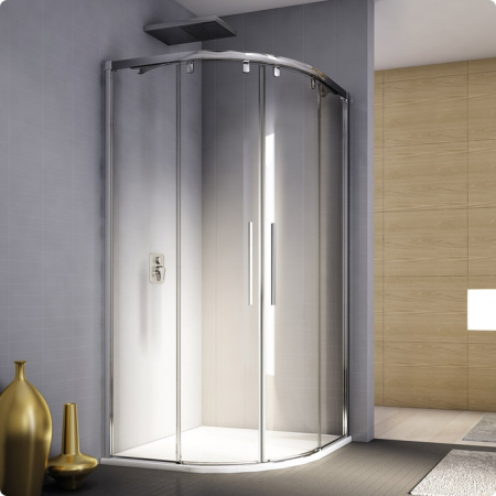 Ronal Sanswiss Pur Light S Kabina półokrągła z drzwiami rozsuwanymi 100x200 cm, profile białe szkło przezroczyste PLSR501000407