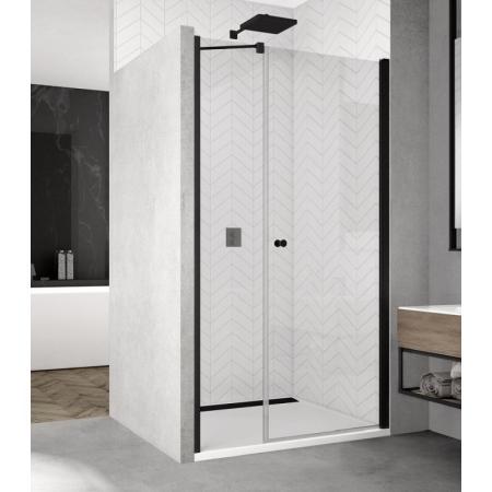Ronal Sanswiss Solino Black SOL31 Drzwi prysznicowe wahadłowe 90x200 cm ze ścianką stałą, profile czarny mat szkło przezroczyste Aquaperle SOL3109000607