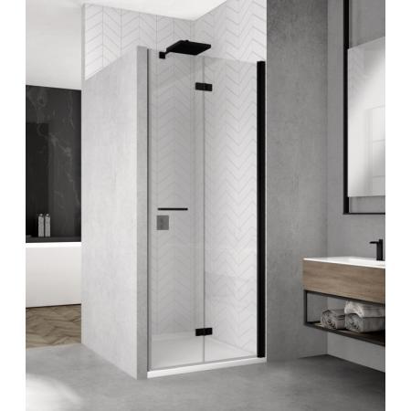 Ronal Sanswiss Solino Black SOLF1 D Drzwi prysznicowe składane 90x200 cm prawe, profile czarny mat szkło przezroczyste Aquaperle SOLF1D0900607