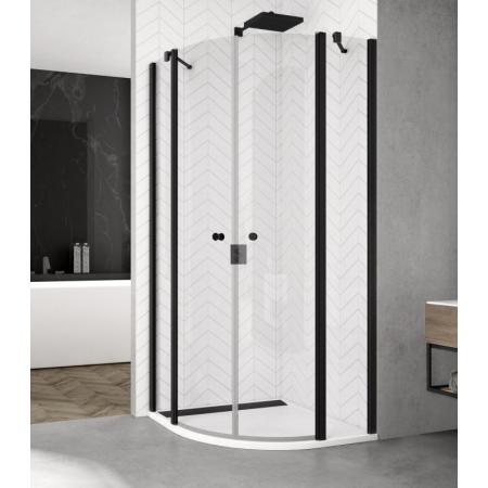 Ronal Sanswiss Solino Black SOR 50 Kabina prysznicowa półokrągła 90x90x200 cm drzwi wahadłowe, profile czarny mat szkło przezroczyste Aquaperle SOR500900607