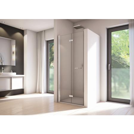 Ronal Sanswiss Solino SOLF1 G Drzwi prysznicowe składane 80x200 cm lewe, profile srebrny połysk szkło przezroczyste Aquaperle SOLF1G0805007