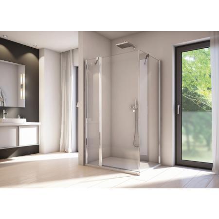 Ronal Sanswiss Solino SOL1 Drzwi prysznicowe wahadłowe 90x200 cm ze ścianką stałą, profile srebrny połysk szkło przezroczyste Aquaperle SOL1309005007