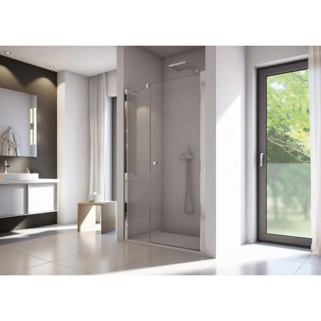 Ronal Sanswiss Solino Drzwi prysznicowe wahadłowe 90x200 cm ze ścianką stałą, profile srebrny połysk szkło przezroczyste Aquaperle SOL3109005007