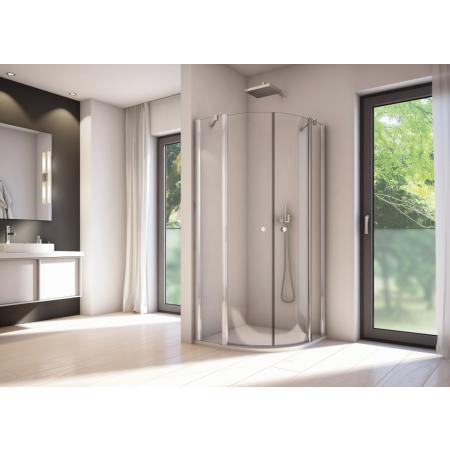 Ronal Sanswiss Solino SOR Kabina prysznicowa półokrągła 100x100x200 cm R55 drzwi wahadłowe, profile srebrny połysk szkło przezroczyste Aquaperle SOR551005007