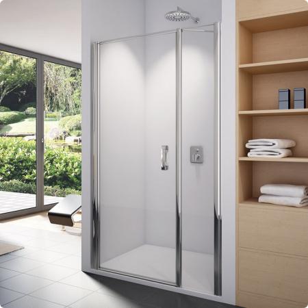 Ronal Sanswiss Swing-Line Drzwi jednoczęściowe ze ścianką stałą w linii 100x195 cm, profile srebrny mat szkło przezroczyste SL3110000107