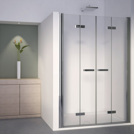 Ronal Sanswiss Swing-Line F Kabina prysznicowa narożna z drzwiami dwuczęściowymi składanymi 70-120xdo 195 cm drzwi prawe, profile srebrny mat szkło przezroczyste SLF2DSM10107
