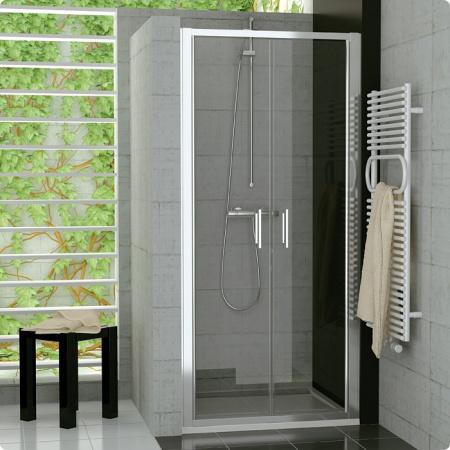 Ronal Sanswiss Top-Line Drzwi dwuczęściowe 90,1-120xdo 190 cm, profile srebrny mat szkło przezroczyste TOPP2SM20107