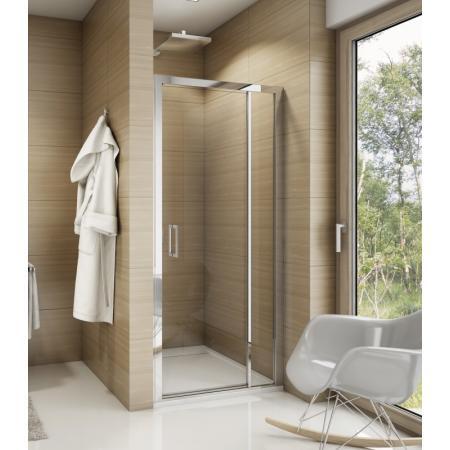 Ronal Sanswiss Top-Line TED Drzwi prysznicowe wahadłowe 90x190 cm ze ścianką stałą, profile srebrny połysk szkło przezroczyste Aquaperle TED09005007