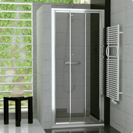 Ronal Sanswiss Top-Line Drzwi przesuwane trzyczęściowe 70-120xdo 190 cm, profile białe szkło przezroczyste TOPS3SM20407
