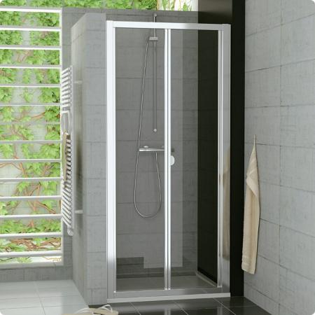 Ronal Sanswiss Top-Line Drzwi przesuwno-składane 2-częściowe 100x190 cm, profile białe szkło przezroczyste TOPK10000407
