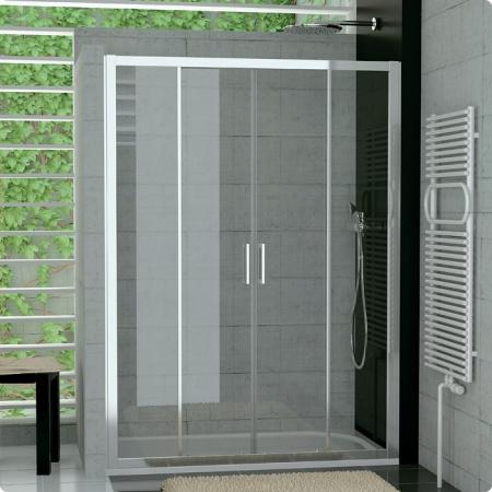 Ronal Sanswiss Top-Line Drzwi rozsuwane czteroczęściowe 120-180xdo 190 cm, profile srebrny mat szkło przezroczyste TOPS4SM10107