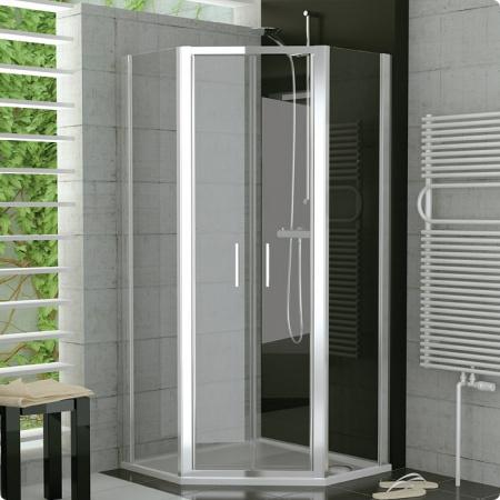 Ronal Sanswiss Top-Line Kabina pięciokątna z drzwiami otwieranymi 90x190 cm, profile białe szkło przezroczyste TOP5260900407