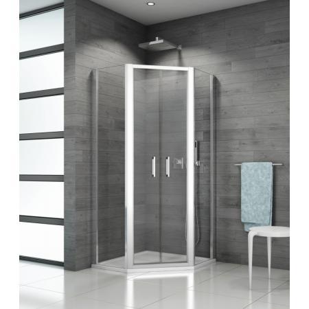 Ronal Sanswiss Top-Line TOP52 Kabina prysznicowa pięciokątna 80x80x190 cm drzwi wahadłowe, profile srebrny połysk szkło przezroczyste Aquaperle TOP5260805007