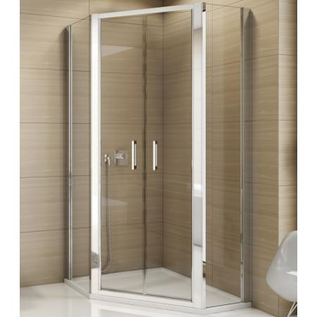 Ronal Sanswiss Top-Line TOP52 Kabina prysznicowa pięciokątna 80x80x190 cm drzwi wahadłowe, profile srebrny połysk szkło przezroczyste Aquaperle TOP5270805007