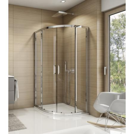 Ronal Sanswiss Top-Line TOPR55 Kabina prysznicowa półokrągła 100x100x190 cm drzwi przesuwne, profile srebrny połysk szkło przezroczyste Aquaperle TOPR551005007